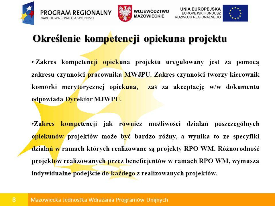 8 Mazowiecka Jednostka Wdrażania Programów Unijnych Określenie kompetencji opiekuna projektu Określenie kompetencji opiekuna projektu Zakres kompetenc