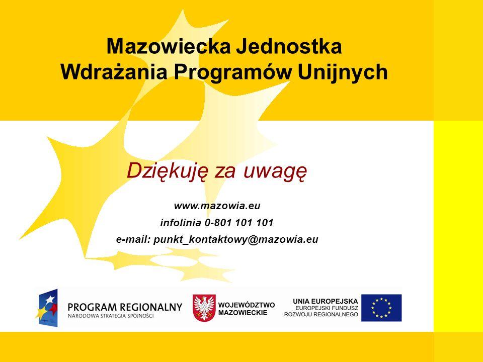 9 Mazowiecka Jednostka Wdrażania Programów Unijnych Dziękuję za uwagę www.mazowia.eu infolinia 0-801 101 101 e-mail: punkt_kontaktowy@mazowia.eu Mazow