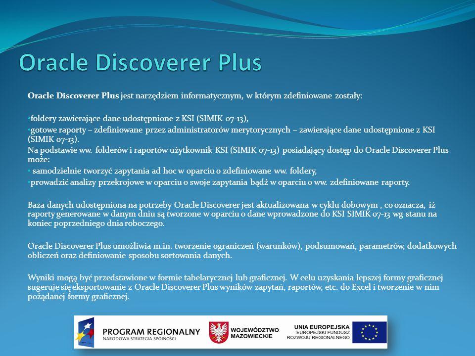 Oracle Discoverer Plus jest narzędziem informatycznym, w którym zdefiniowane zostały: foldery zawierające dane udostępnione z KSI (SIMIK 07-13), gotow