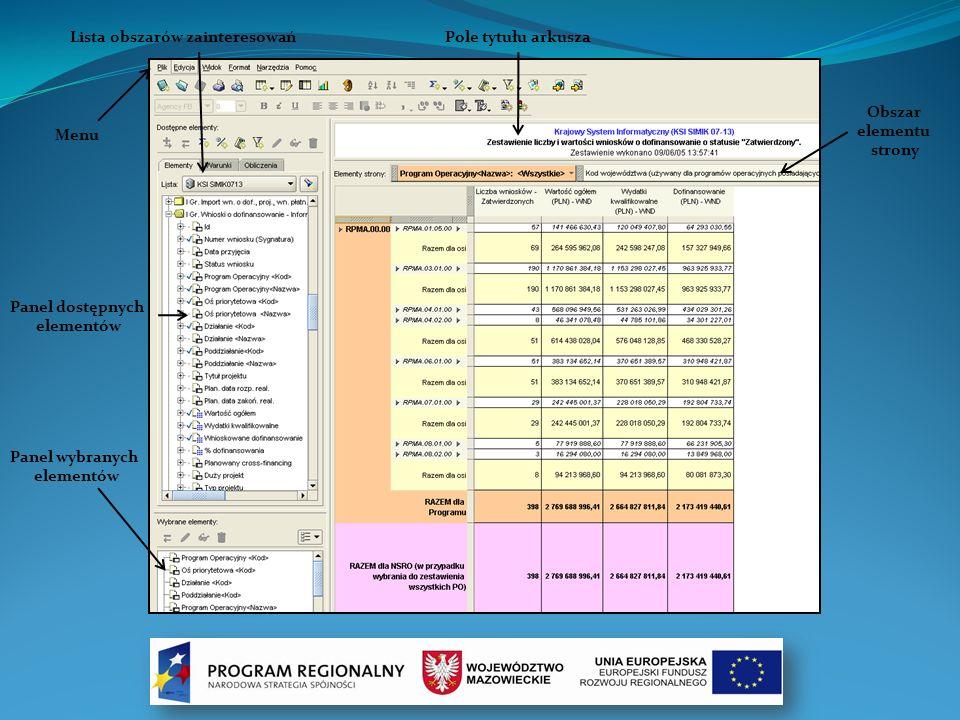 Lista obszarów zainteresowań Menu Pole tytułu arkusza Obszar elementu strony Panel dostępnych elementów Panel wybranych elementów