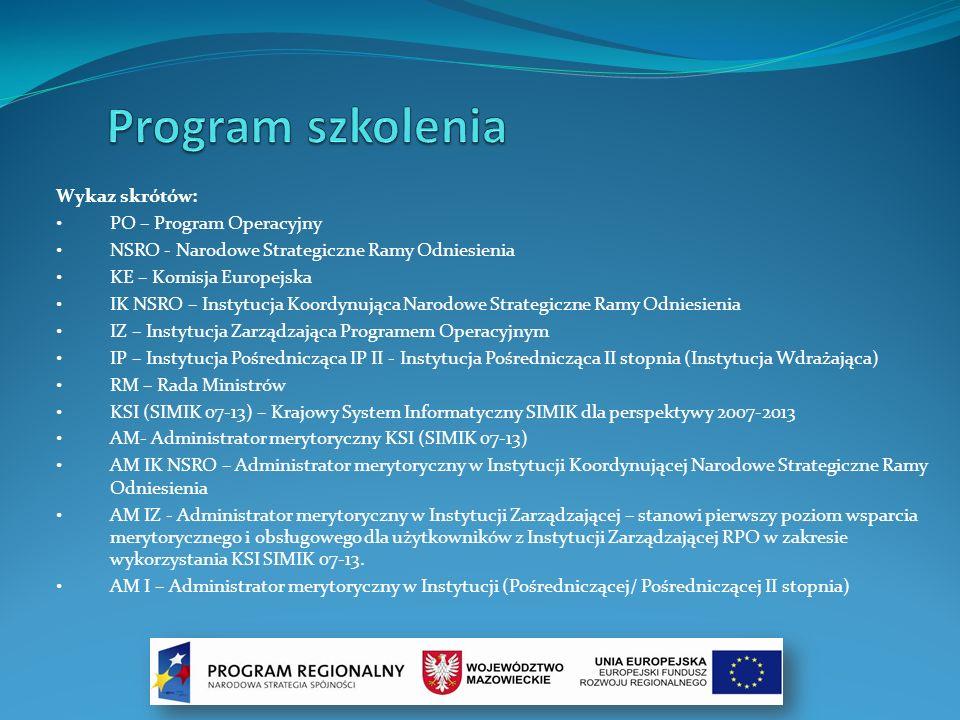 Wykaz skrótów: PO – Program Operacyjny NSRO - Narodowe Strategiczne Ramy Odniesienia KE – Komisja Europejska IK NSRO – Instytucja Koordynująca Narodow
