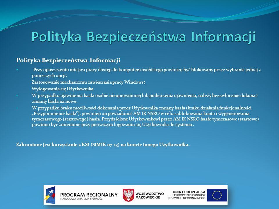 Rozpoczęcie pracy Użytkownika: Połączenie z KSI (SIMIK 07-13): W celu połączenia się z systemem należy uruchomić przeglądarkę oraz wprowadzić adres: https://www.0713.simik.gov.pl Połączenie do KSI (SIMIK 07-13), odbywa się za pośrednictwem protokołu szyfrowania SSL, zapewniającego poufność i integralność danych.