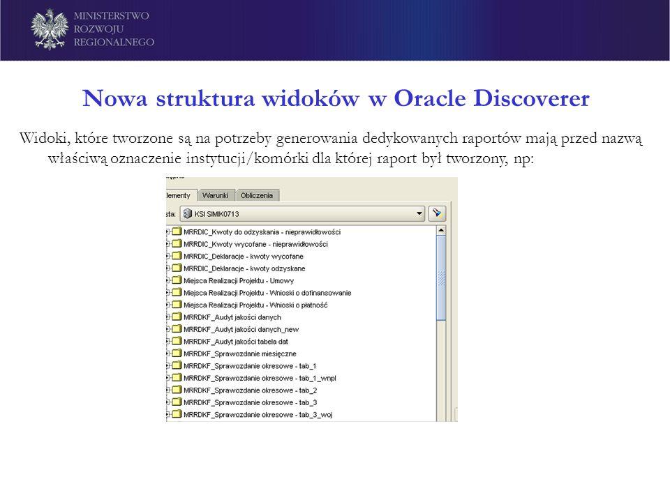 Nowa struktura widoków w Oracle Discoverer Widoki, które tworzone są na potrzeby generowania dedykowanych raportów mają przed nazwą właściwą oznaczeni