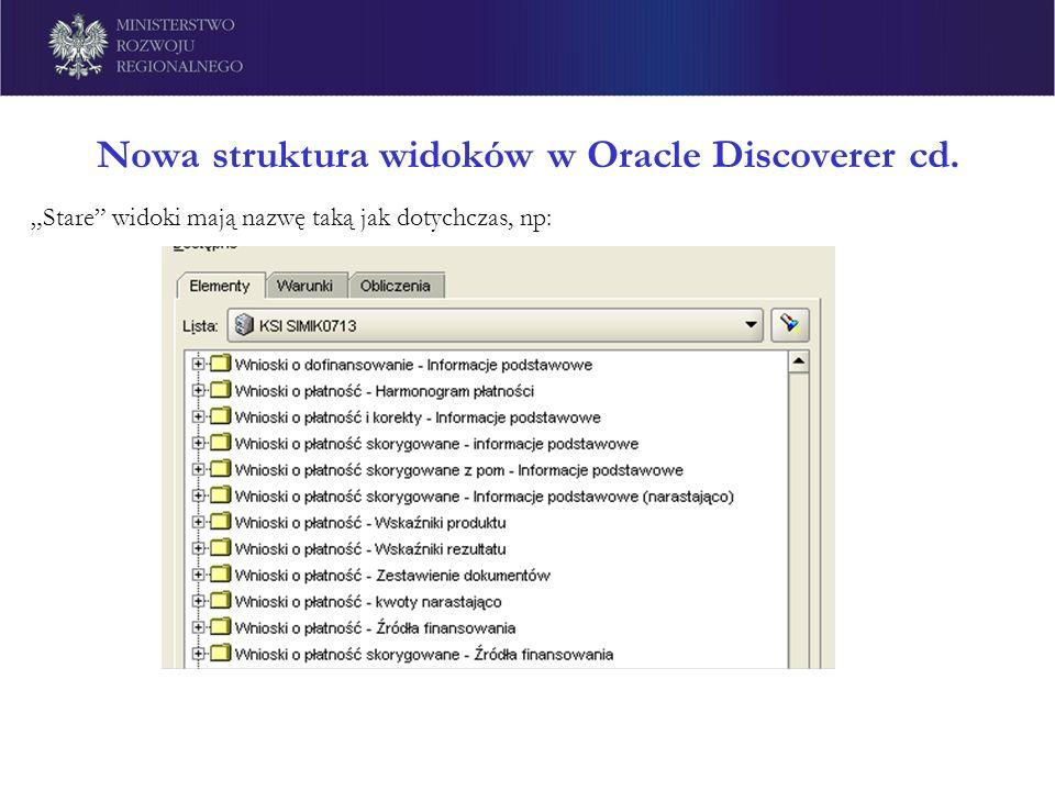 Nowa struktura widoków w Oracle Discoverer cd. Stare widoki mają nazwę taką jak dotychczas, np: