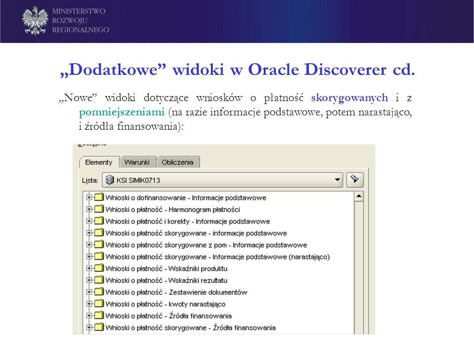 Dodatkowe widoki w Oracle Discoverer cd. Nowe widoki dotyczące wniosków o płatność skorygowanych i z pomniejszeniami (na razie informacje podstawowe,