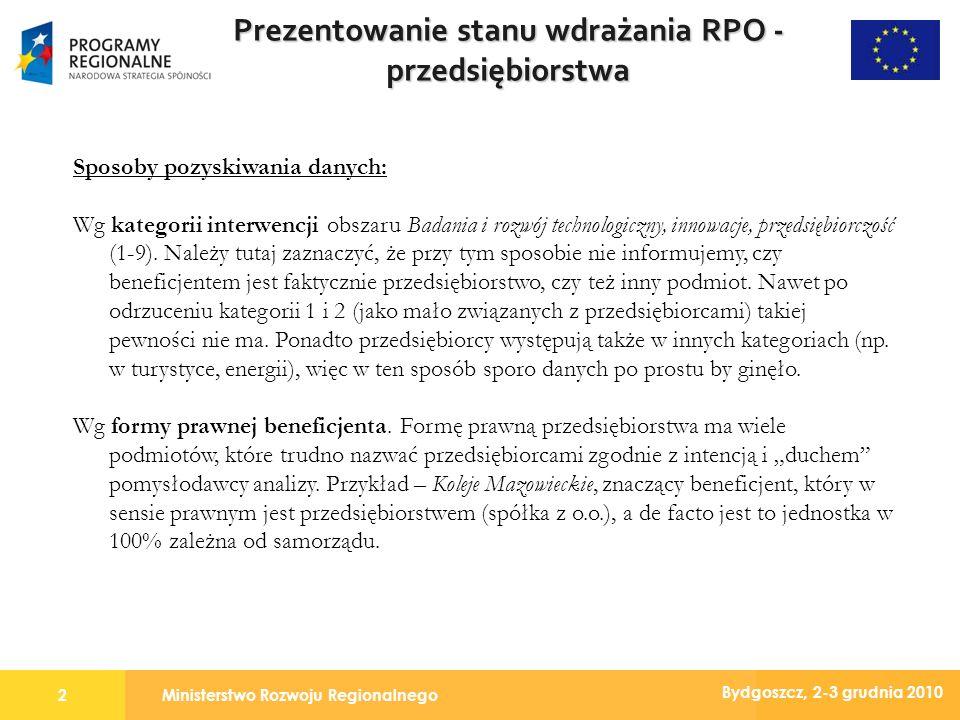 Ministerstwo Rozwoju Regionalnego2 Bydgoszcz, 2-3 grudnia 2010 Prezentowanie stanu wdrażania RPO - przedsiębiorstwa Sposoby pozyskiwania danych: Wg kategorii interwencji obszaru Badania i rozwój technologiczny, innowacje, przedsiębiorczość (1-9).