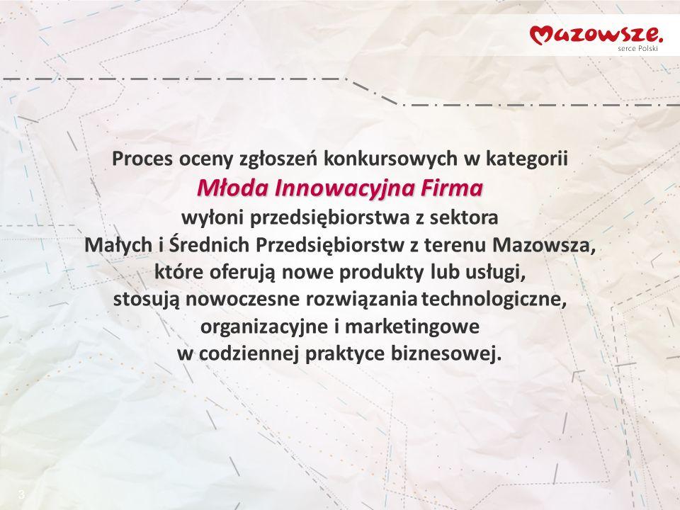 3 Proces oceny zgłoszeń konkursowych w kategorii Młoda Innowacyjna Firma wyłoni przedsiębiorstwa z sektora Małych i Średnich Przedsiębiorstw z terenu Mazowsza, które oferują nowe produkty lub usługi, stosują nowoczesne rozwiązania technologiczne, organizacyjne i marketingowe w codziennej praktyce biznesowej.