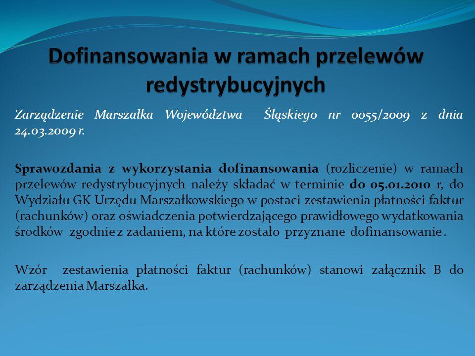 Zarządzenie Marszałka Województwa Śląskiego nr 0055/2009 z dnia 24.03.2009 r.