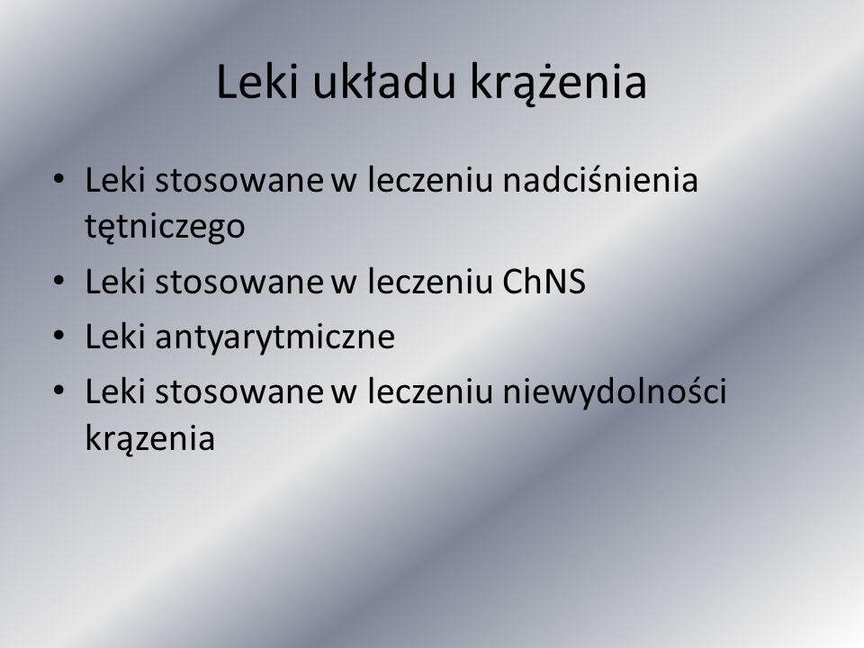 Leki układu krążenia Leki stosowane w leczeniu nadciśnienia tętniczego Leki stosowane w leczeniu ChNS Leki antyarytmiczne Leki stosowane w leczeniu ni