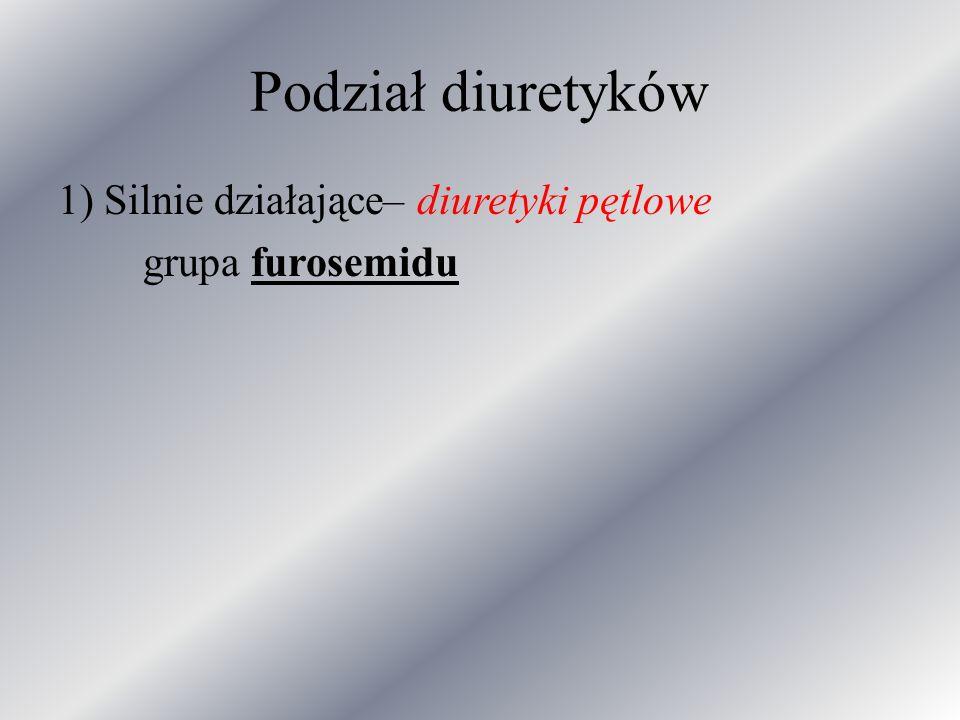 Podział diuretyków 1) Silnie działające– diuretyki pętlowe grupa furosemidu