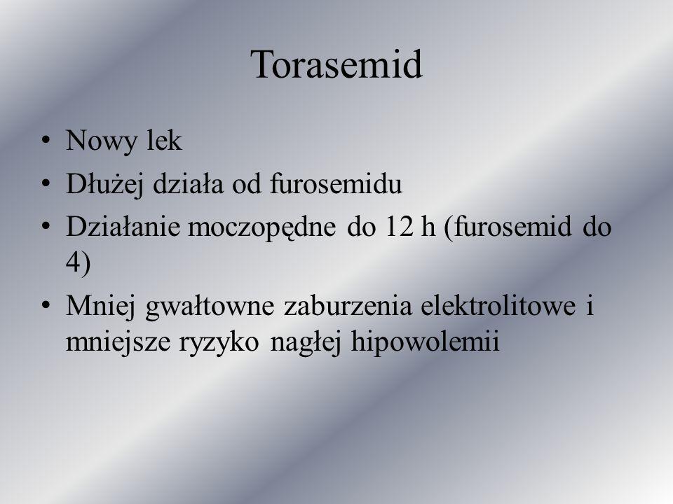 Torasemid Nowy lek Dłużej działa od furosemidu Działanie moczopędne do 12 h (furosemid do 4) Mniej gwałtowne zaburzenia elektrolitowe i mniejsze ryzyk