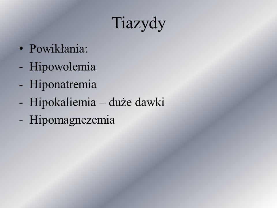 Tiazydy Powikłania: -Hipowolemia -Hiponatremia -Hipokaliemia – duże dawki -Hipomagnezemia
