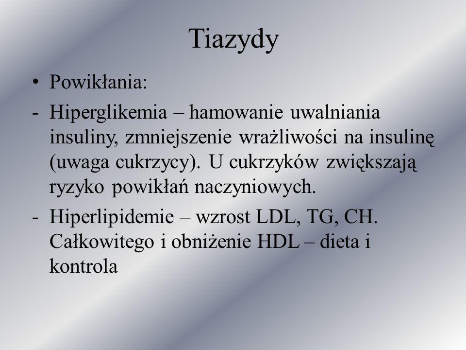 Tiazydy Powikłania: -Hiperglikemia – hamowanie uwalniania insuliny, zmniejszenie wrażliwości na insulinę (uwaga cukrzycy). U cukrzyków zwiększają ryzy