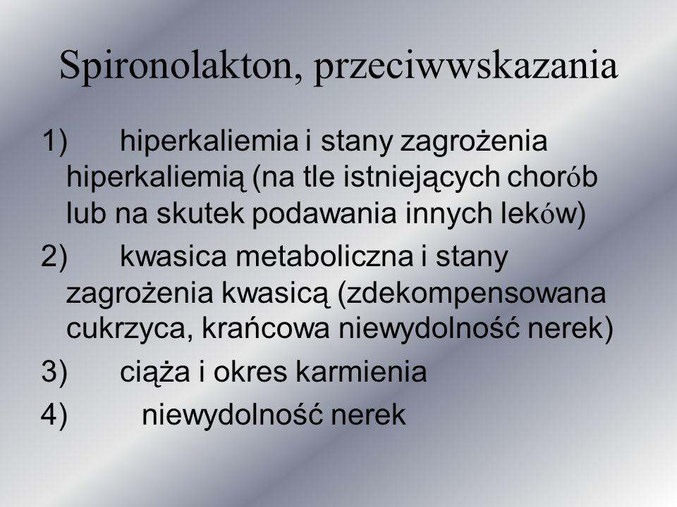 Spironolakton, przeciwwskazania 1) hiperkaliemia i stany zagrożenia hiperkaliemią (na tle istniejących chor ó b lub na skutek podawania innych lek ó w