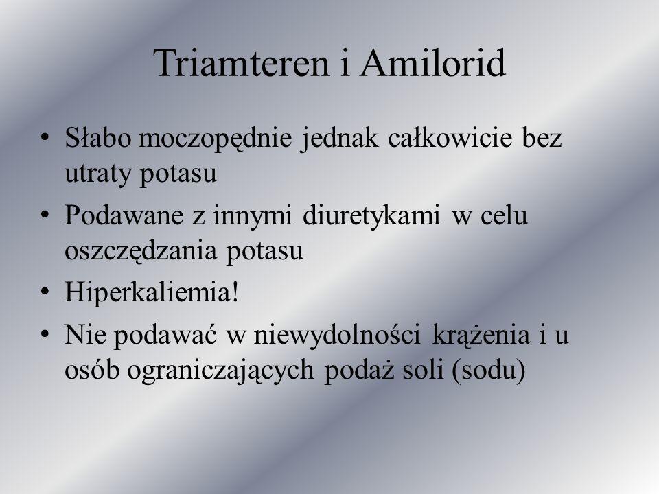 Triamteren i Amilorid Słabo moczopędnie jednak całkowicie bez utraty potasu Podawane z innymi diuretykami w celu oszczędzania potasu Hiperkaliemia! Ni