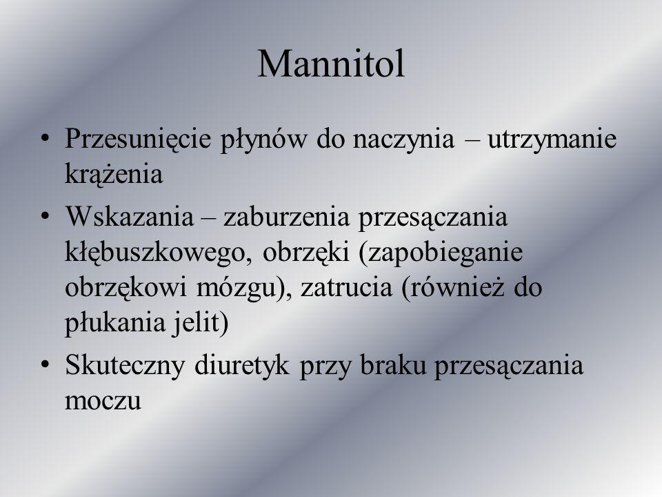 Mannitol Przesunięcie płynów do naczynia – utrzymanie krążenia Wskazania – zaburzenia przesączania kłębuszkowego, obrzęki (zapobieganie obrzękowi mózg