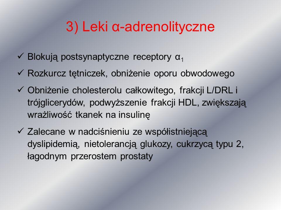 3) Leki α-adrenolityczne Blokują postsynaptyczne receptory α 1 Rozkurcz tętniczek, obniżenie oporu obwodowego Obniżenie cholesterolu całkowitego, frak