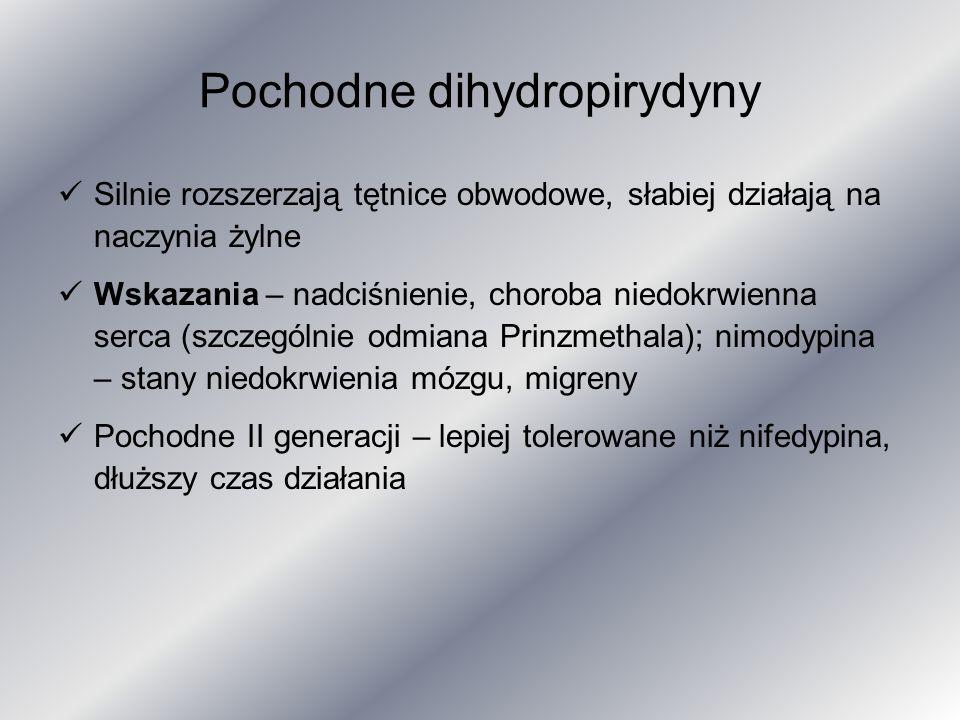 Pochodne dihydropirydyny Silnie rozszerzają tętnice obwodowe, słabiej działają na naczynia żylne Wskazania – nadciśnienie, choroba niedokrwienna serca