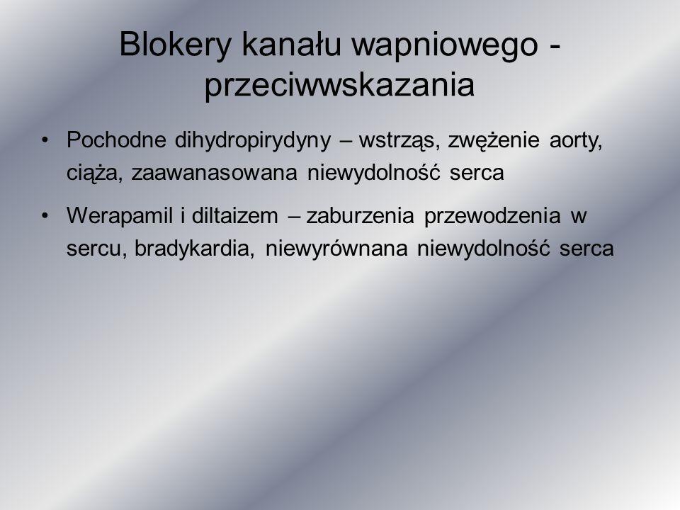 Blokery kanału wapniowego - przeciwwskazania Pochodne dihydropirydyny – wstrząs, zwężenie aorty, ciąża, zaawanasowana niewydolność serca Werapamil i d