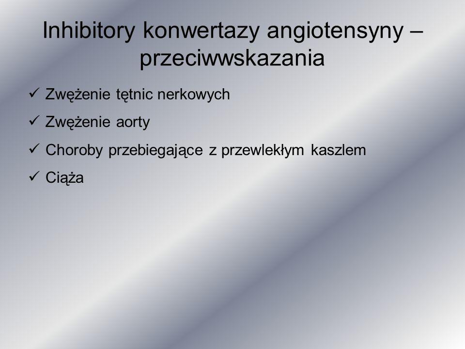 Inhibitory konwertazy angiotensyny – przeciwwskazania Zwężenie tętnic nerkowych Zwężenie aorty Choroby przebiegające z przewlekłym kaszlem Ciąża