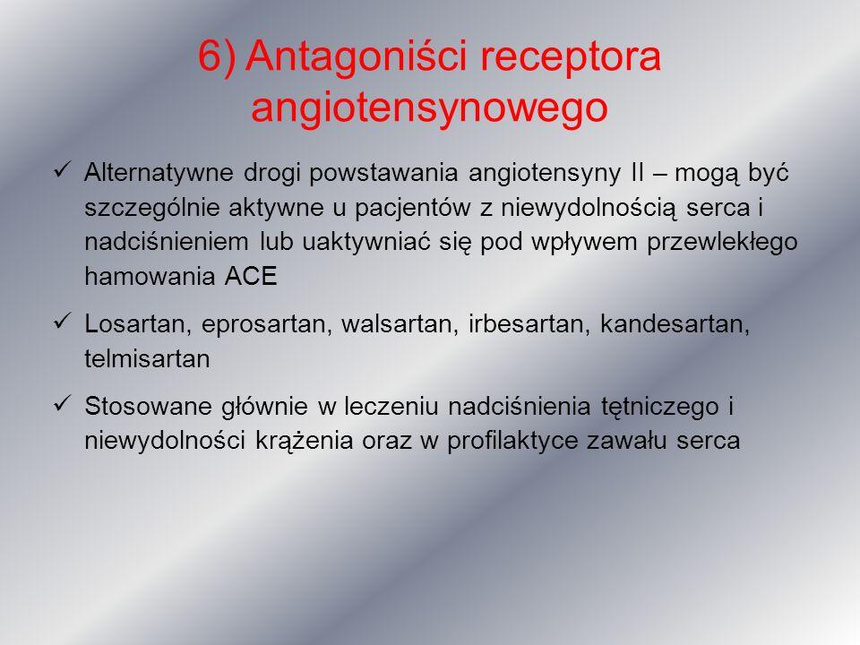 6) Antagoniści receptora angiotensynowego Alternatywne drogi powstawania angiotensyny II – mogą być szczególnie aktywne u pacjentów z niewydolnością s