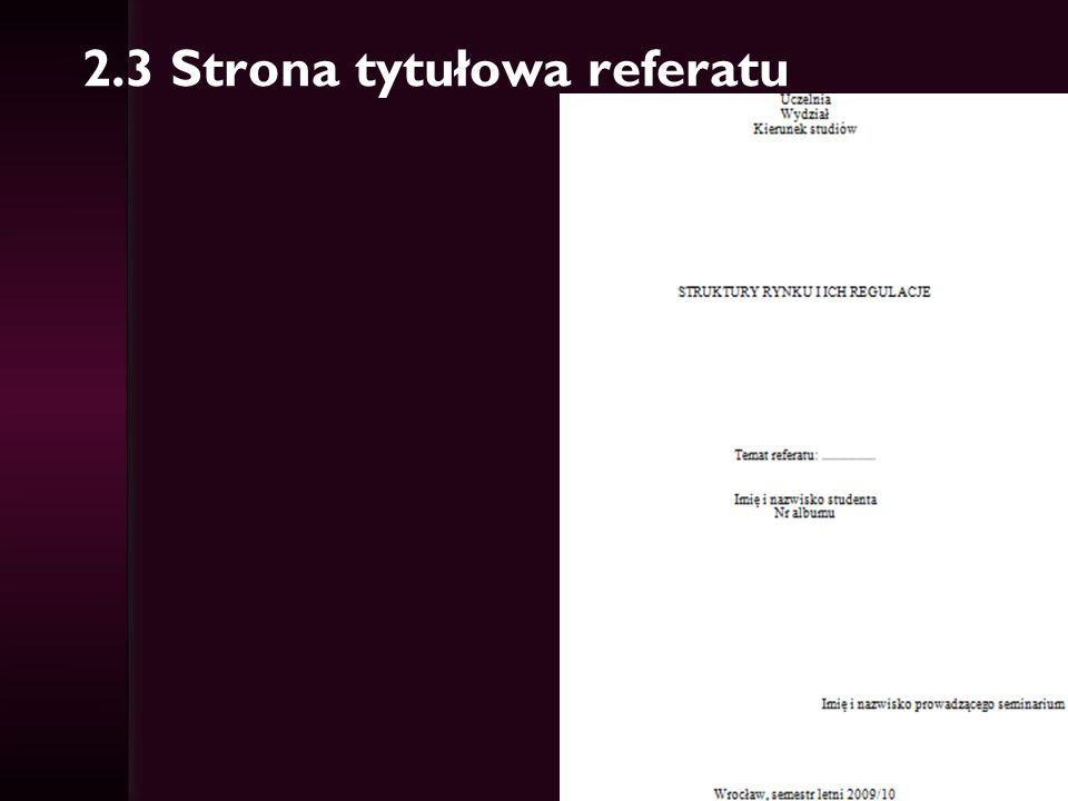 3. Zagadnienia i przykładowa literatura do referatów