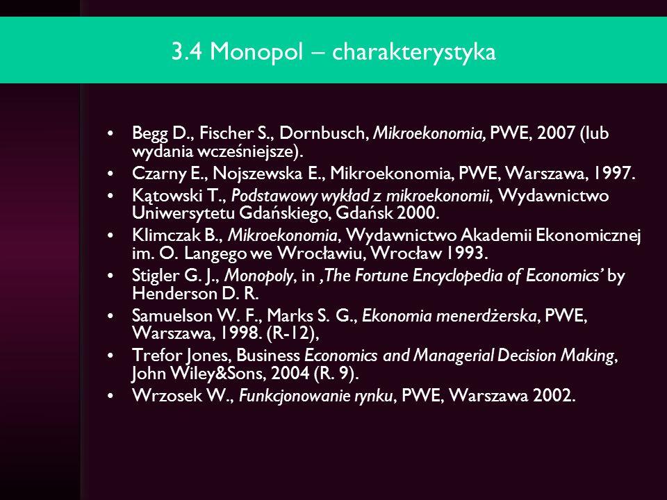 3.5 Monopol państwowy a monopol prywatny Czarny E., Nojszewska E., Mikroekonomia, PWE, Warszawa, 1997.