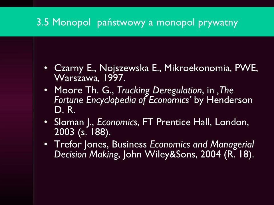 3.6 Strategia różnicowania cen przez monopolistę - dyskryminacja cenowa Czarny E., Nojszewska E., Mikroekonomia, PWE, Warszawa, 1997.