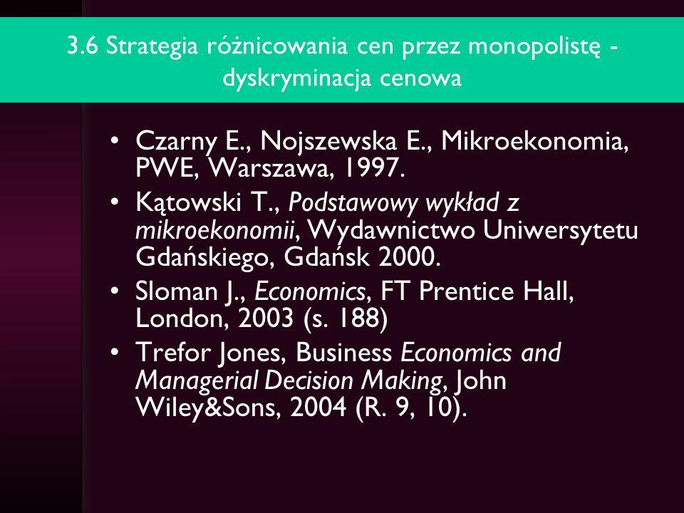 3.7 Konkurencja monopolistyczna model Chamberlina Czarny E., Nojszewska E., Mikroekonomia, PWE, Warszawa, 1997.