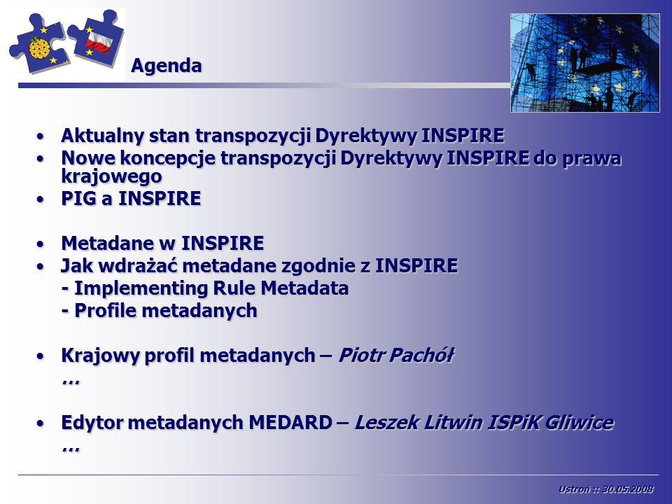 Agenda Aktualny stan transpozycji Dyrektywy INSPIREAktualny stan transpozycji Dyrektywy INSPIRE Nowe koncepcje transpozycji Dyrektywy INSPIRE do prawa