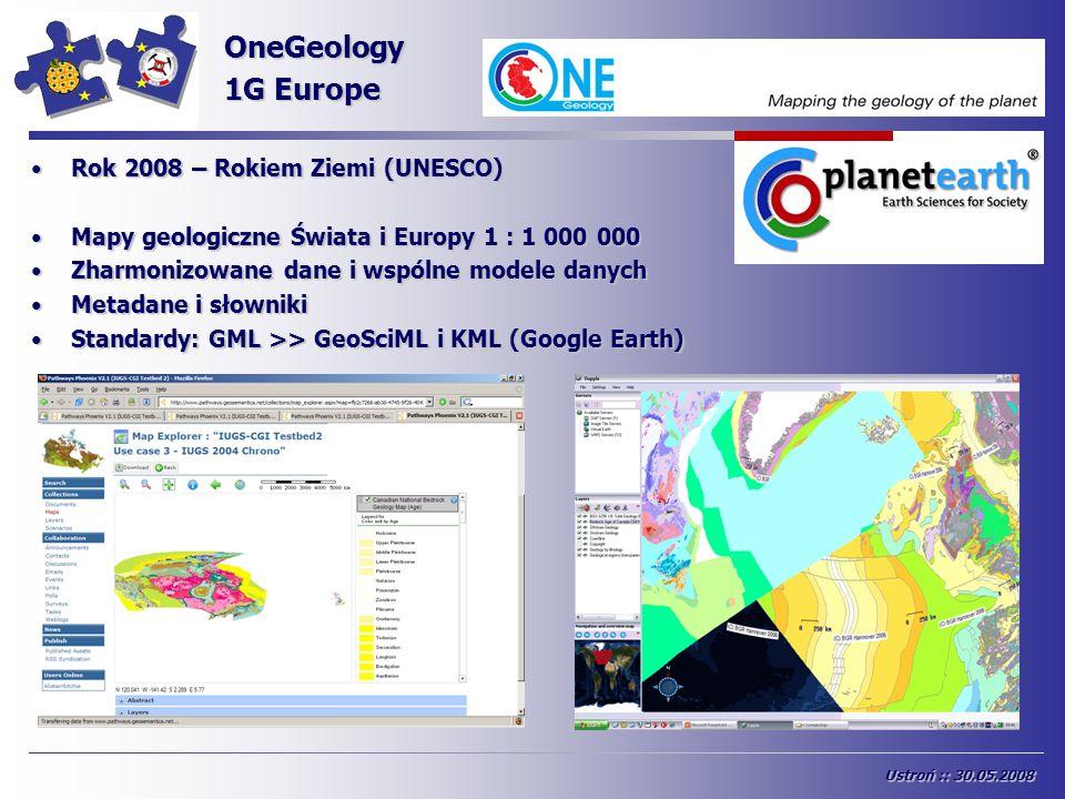 INSPIRE OneGeology 1G Europe Rok 2008 – Rokiem Ziemi (UNESCO)Rok 2008 – Rokiem Ziemi (UNESCO) Mapy geologiczne Świata i Europy 1 : 1 000 000Mapy geolo