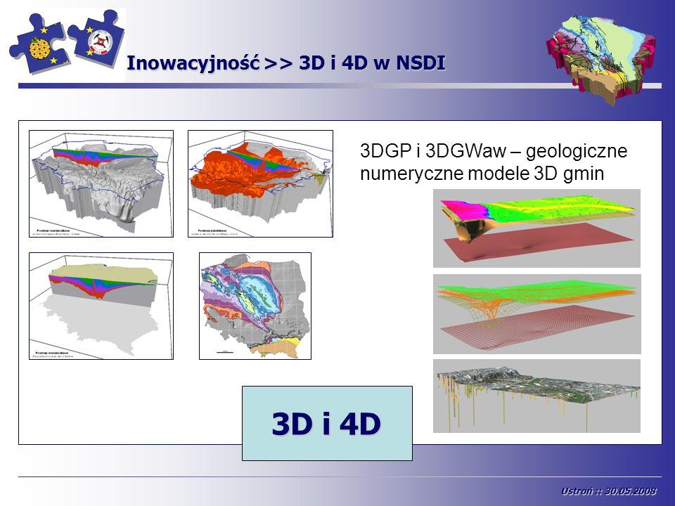 INSPIRE Inowacyjność >> 3D i 4D w NSDI 2D2,5D 3D i 4D 3DGP i 3DGWaw – geologiczne numeryczne modele 3D gmin Ustroń :: 30.05.2008