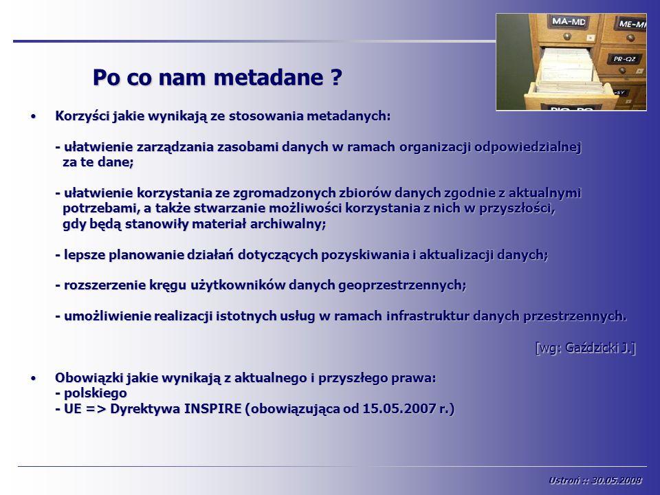 Po co nam metadane ? [wg: Gaździcki J.] Korzyści jakie wynikają ze stosowania metadanych:Korzyści jakie wynikają ze stosowania metadanych: - ułatwieni
