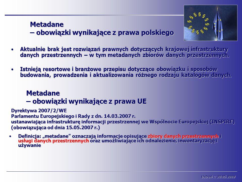 Metadane – obowiązki wynikające z prawa polskiego Aktualnie brak jest rozwiązań prawnych dotyczących krajowej infrastruktury danych przestrzennych – w
