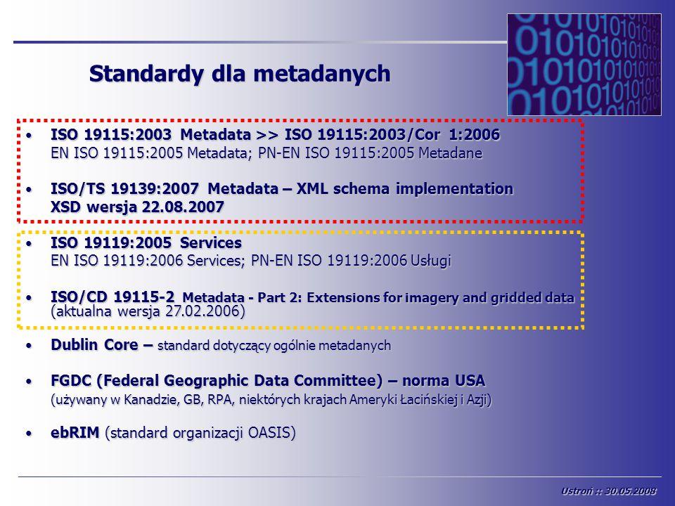 Standardy dla metadanych ISO 19115:2003 Metadata >> ISO 19115:2003/Cor 1:2006ISO 19115:2003 Metadata >> ISO 19115:2003/Cor 1:2006 EN ISO 19115:2005 Me