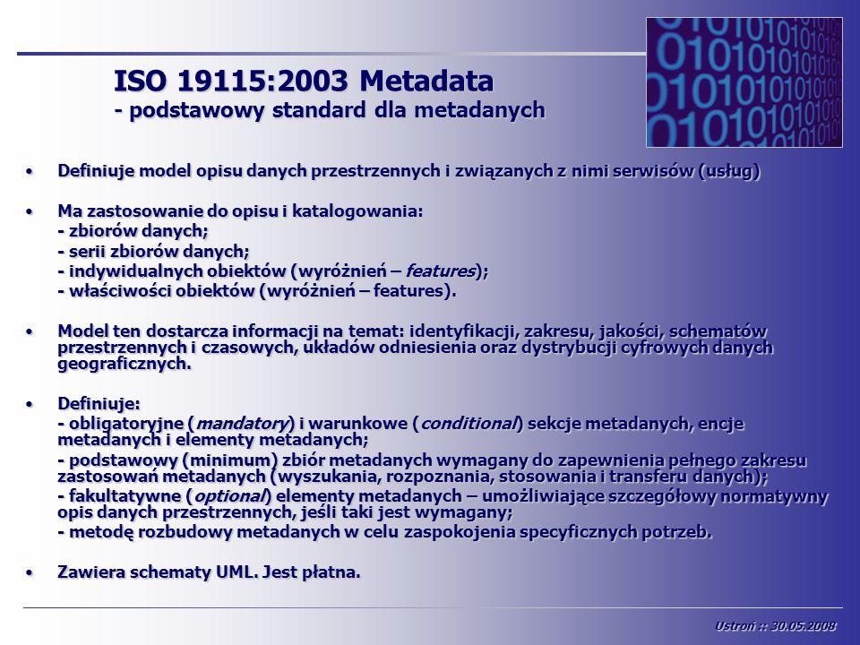 ISO 19115:2003 Metadata - podstawowy standard dla metadanych Definiuje model opisu danych przestrzennych i związanych z nimi serwisów (usług)Definiuje