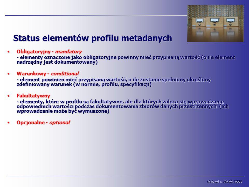 Status elementów profilu metadanych Obligatoryjny - mandatoryObligatoryjny - mandatory - elementy oznaczone jako obligatoryjne powinny mieć przypisaną