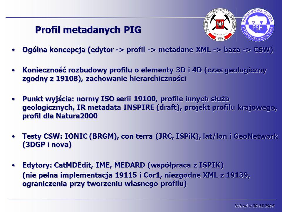 Profil metadanych PIG Ogólna koncepcja (edytor -> profil -> metadane XML -> baza -> CSW)Ogólna koncepcja (edytor -> profil -> metadane XML -> baza ->