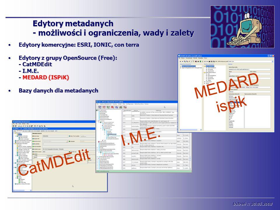 Edytory metadanych - możliwości i ograniczenia, wady i zalety Edytory komercyjne: ESRI, IONIC, con terraEdytory komercyjne: ESRI, IONIC, con terra Edy