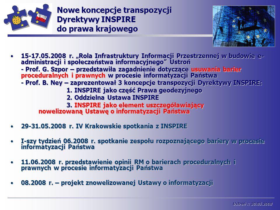Nowe koncepcje transpozycji Dyrektywy INSPIRE do prawa krajowego 15-17.05.2008 r. Rola Infrastruktury Informacji Przestrzennej w budowie e- administra