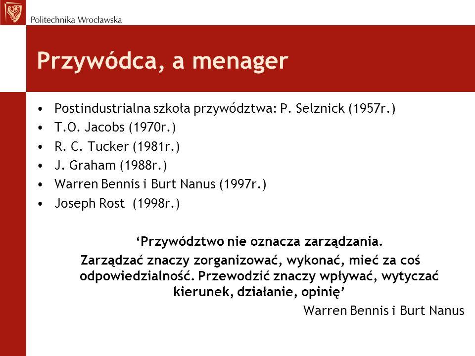 Przywódca, a menager Postindustrialna szkoła przywództwa: P. Selznick (1957r.) T.O. Jacobs (1970r.) R. C. Tucker (1981r.) J. Graham (1988r.) Warren Be