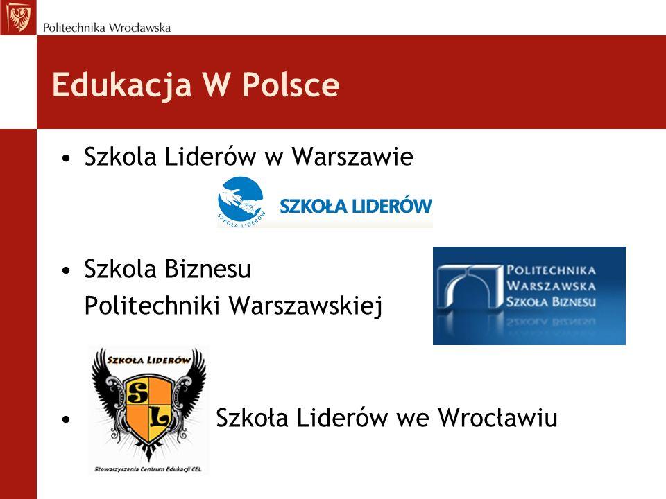Edukacja W Polsce Szkola Liderów w Warszawie Szkola Biznesu Politechniki Warszawskiej Szkoła Liderów we Wrocławiu