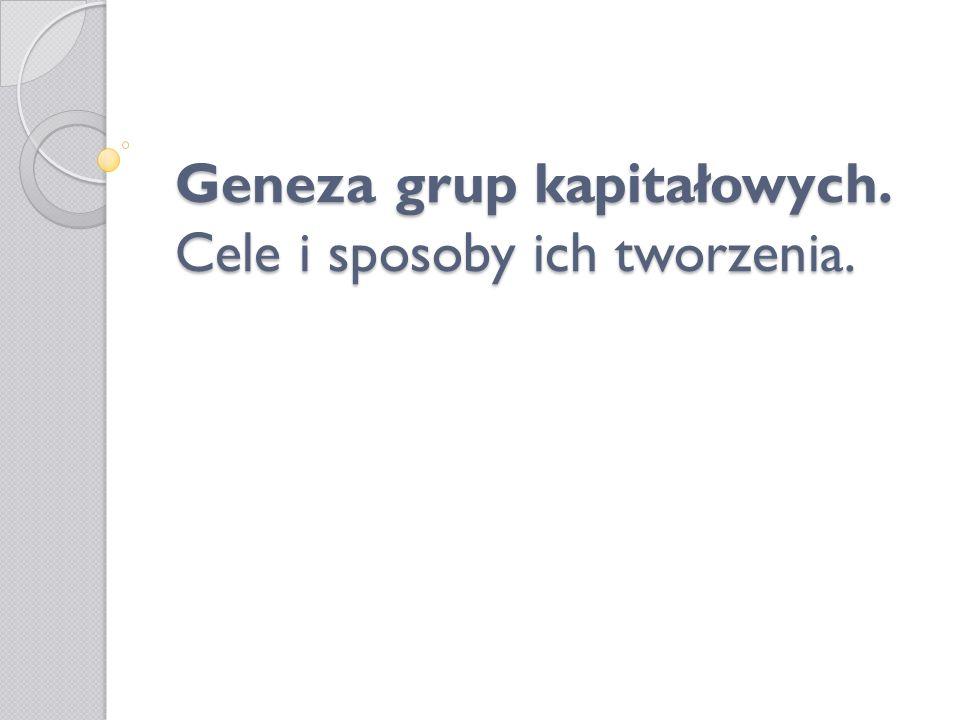 Plan prezentacji: Grupa kapitałowa a holding.Cele tworzenia grup kapitałowych.
