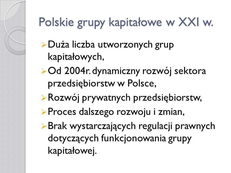 Polskie grupy kapitałowe w XXI w. Duża liczba utworzonych grup kapitałowych, Od 2004r. dynamiczny rozwój sektora przedsiębiorstw w Polsce, Rozwój pryw