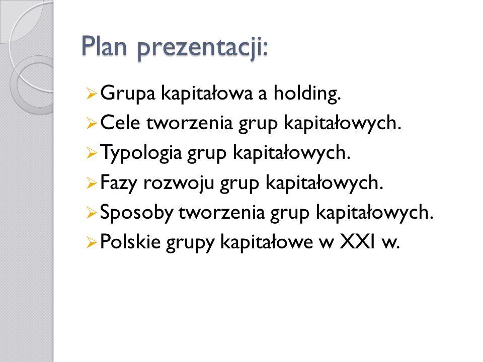 Plan prezentacji: Grupa kapitałowa a holding. Cele tworzenia grup kapitałowych. Typologia grup kapitałowych. Fazy rozwoju grup kapitałowych. Sposoby t