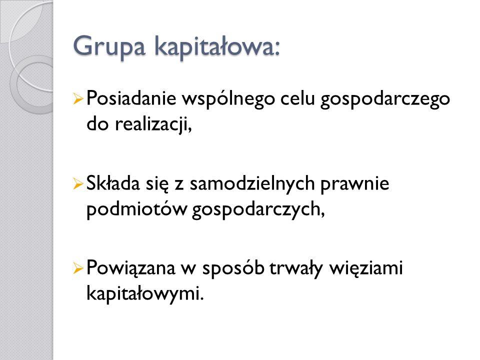 Polskie grupy kapitałowe w XXI w.Duża liczba utworzonych grup kapitałowych, Od 2004r.
