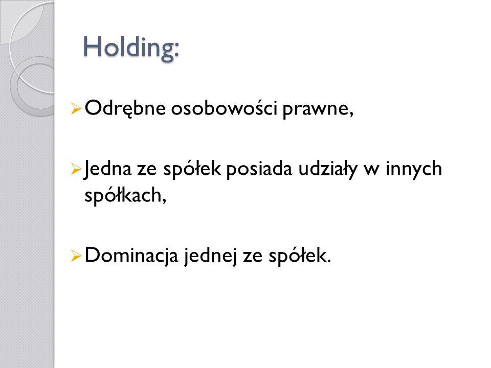 Holding: Odrębne osobowości prawne, Jedna ze spółek posiada udziały w innych spółkach, Dominacja jednej ze spółek.