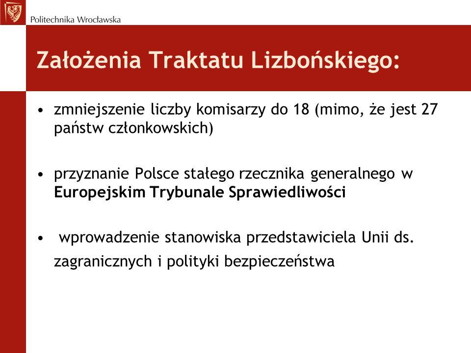 Założenia Traktatu Lizbońskiego: zmniejszenie liczby komisarzy do 18 (mimo, że jest 27 państw członkowskich) przyznanie Polsce stałego rzecznika gener