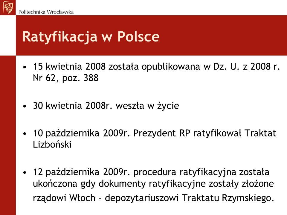 Ratyfikacja w Polsce 15 kwietnia 2008 została opublikowana w Dz. U. z 2008 r. Nr 62, poz. 388 30 kwietnia 2008r. weszła w życie 10 października 2009r.