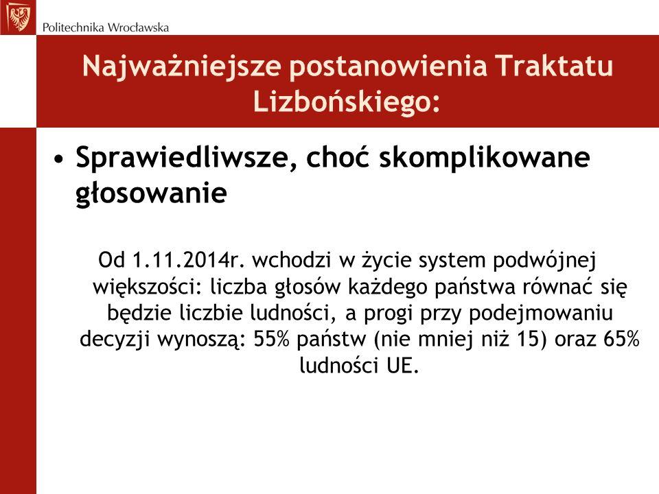 Najważniejsze postanowienia Traktatu Lizbońskiego: Sprawiedliwsze, choć skomplikowane głosowanie Od 1.11.2014r.